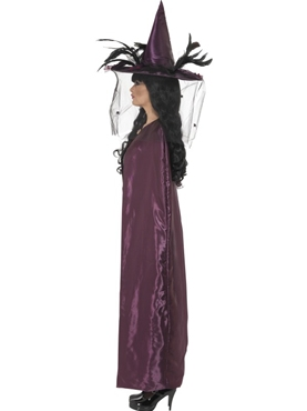 Deluxe Purple and Black Reversible Witches Cape - Back View