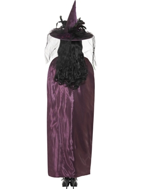 Deluxe Purple and Black Reversible Witches Cape - Side View