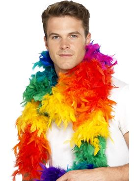 Deluxe Rainbow Feather Boa - Back View