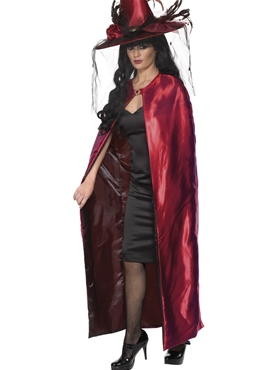 Deluxe Red and Black Reversible Witches Cape