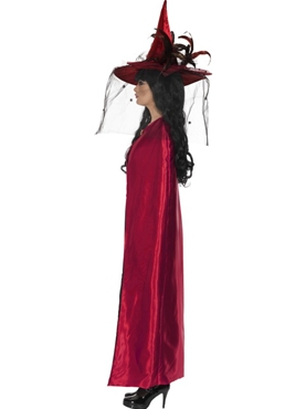 Deluxe Red and Black Reversible Witches Cape - Back View