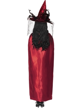 Deluxe Red and Black Reversible Witches Cape - Side View