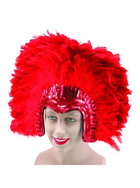 Deluxe Red Feather Headdress