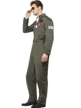 Deluxe Top Gun Pilot Costume - Back View