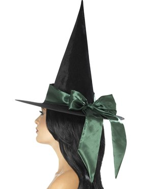 Deluxe Witch Hat with Green Bow