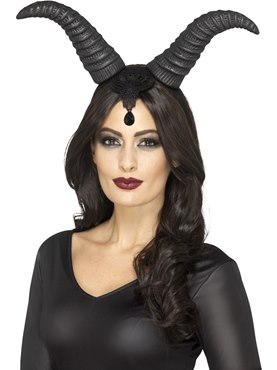 Demonic Queen Black and Lace Horn Headband