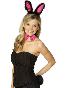 Diamante Bunny Ears Set Pink Black