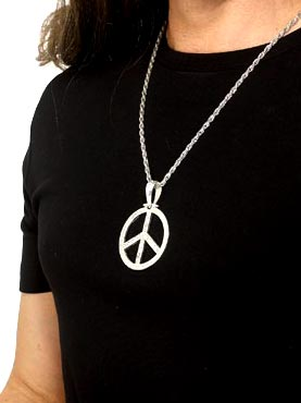 Diamante Peace Sign Medallion Silver