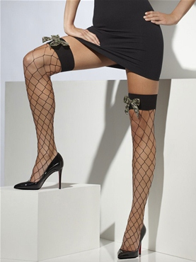 Diamond Net Stockings with Cameo Bow - Back View
