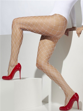 Diamond Net Tights White