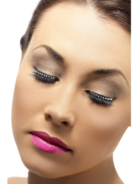 Diamonte Eyelashes With Adhesive Black - Back View