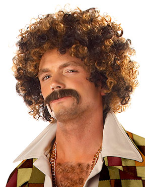 Adult Disco Dirt Bag Wig & Moustache