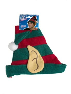 Elf Hat Green With Red Stripes - Back View