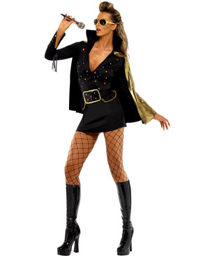 Adult Elvis Viva Las Vegas Black Costume