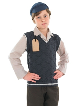 Child Evacuee School Boy Costume - Back View