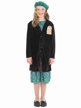 Child Evacuee School Girl Costume - Back View