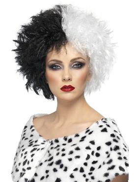 Evil Madam Wig Half Black And Half White Couples Costume