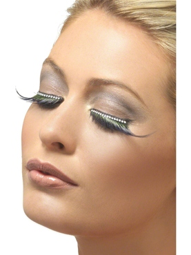 Eyelashes Black and Green with Diamante - Back View