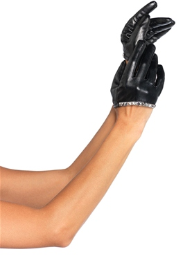 Faux Leather Cropped Black Gloves