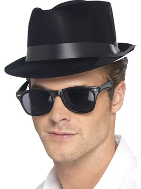 Fedora Hat Black Plastic