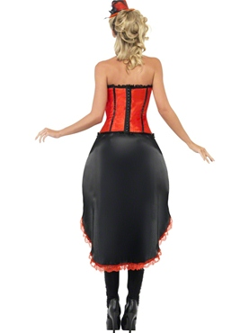 Adult Red Burlesque Dancer Costume - Side View