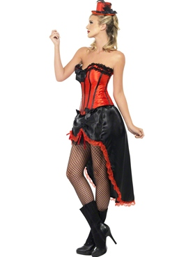 Adult Red Burlesque Dancer Costume - Back View