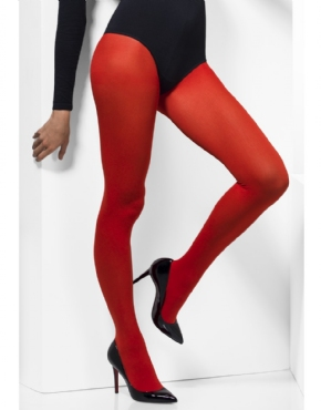 Fever Red Opaque Tights - Back View