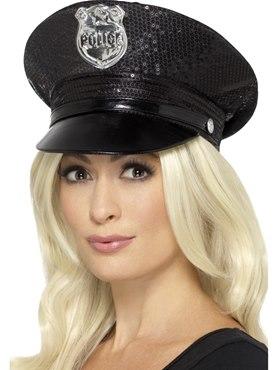 Fever Black Sequin Police Hat