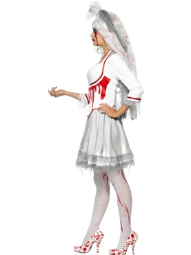 Adult Fever Blood Drip Bride Costume - Back View