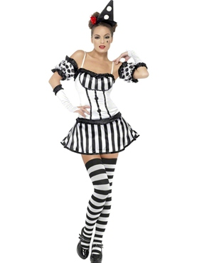 Adult Fever Clown Mime Diva Costume - Back View