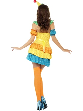 Adult Fever Colourful Clown Cutie Costume - Side View