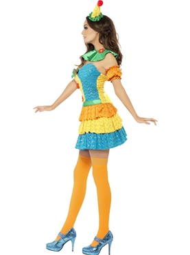 Adult Fever Colourful Clown Cutie Costume - Back View