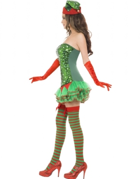 Adult Fever Elf Sequin Costume - Back View