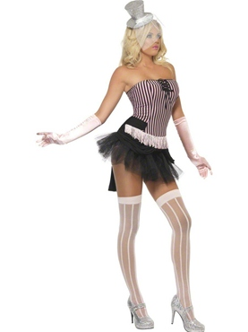 Adult Fever Fringe Stripe Burlesque Costume - Side View