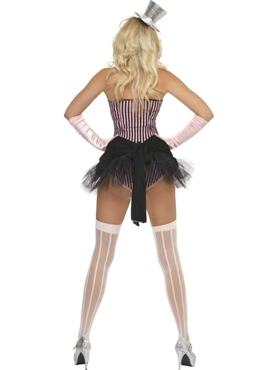 Adult Fever Fringe Stripe Burlesque Costume - Back View