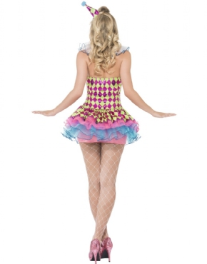 Adult Fever Neon Harlequin Clown Costume - Side View
