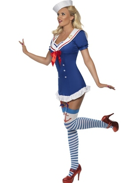 Adult Fever Pin Up Ahoy Sailor Costume - Back View