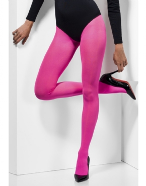Adult Fever Pink Opaque Tights - Back View