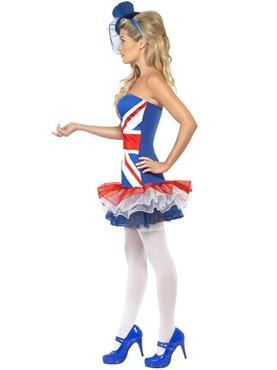 Adult Fever Rule Britannia Union Jack Costume - Side View