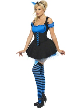 Adult Fever Wicked Witch Blue Costume - Back View