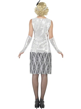 Adult Silver Flapper Costume - Side View