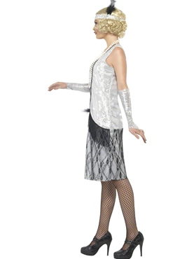 Adult Silver Flapper Costume - Back View
