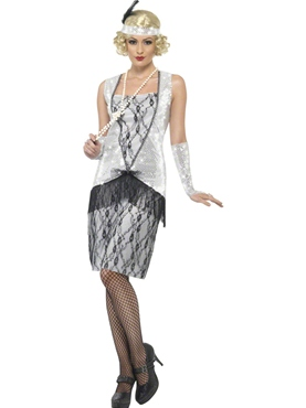 Adult Silver Flapper Costume
