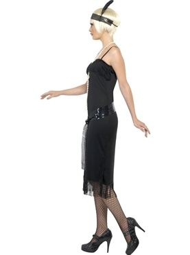 Adult Flappers Dress Black - Back View