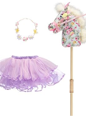 Floral Pony Hobby Horse Set - Back View