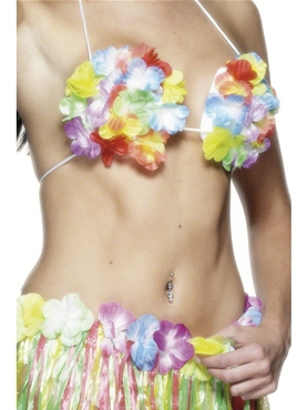 Adult Flowered Hawaiian Bra