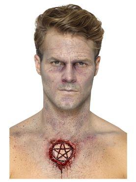 Foam Latex Pentagram Scar Prosthetic - Side View
