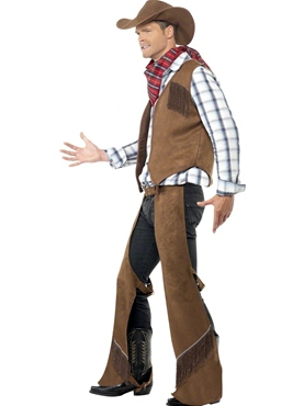 Adult Fringe Cowboy Costume - Back View