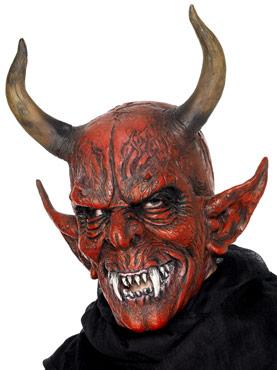 Full Head Demon Devil Mask Red Latex