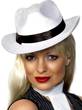 Gangster Hat White Velour Silk